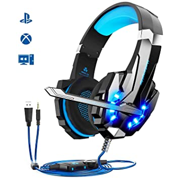 Auriculares Gaming PS4,Cascos Gaming, Auriculares Cascos Gaming de Mac Estéreo con Micrófono Juego Gaming Headset con 3.5mm Jack Luz LED Bajo Ruido ...
