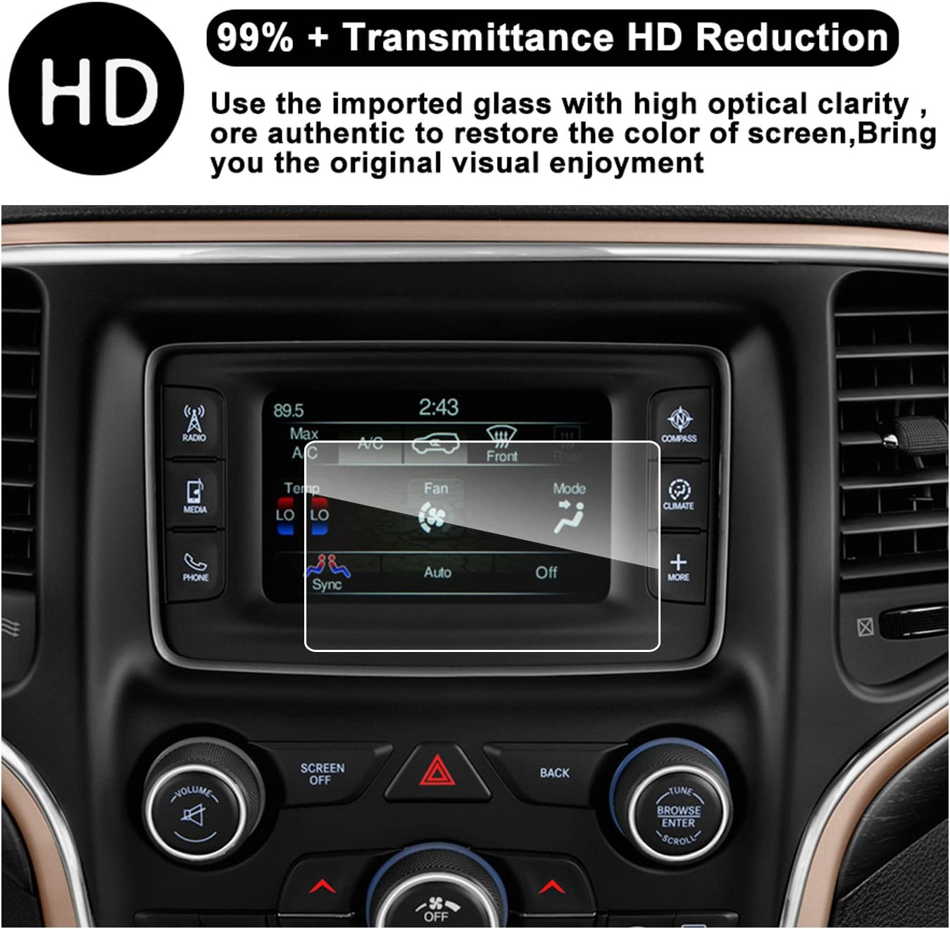 RUIYA HD Clear Tempered Glass Car in-Dash Screen Protective Film 2019 2020 8.4Inch Navi 2019 2020 Jeep Grand Cherokee Uconnect Touch Screen Car Display Navigation Screen Protector