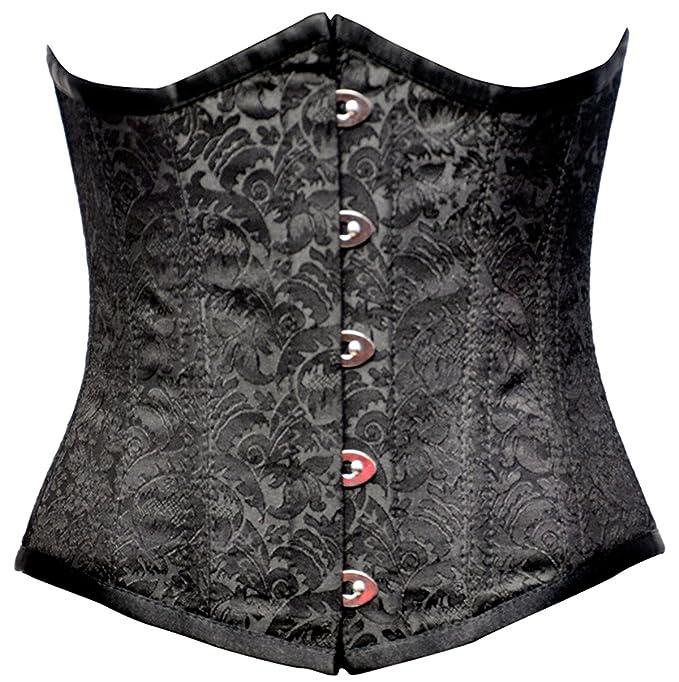 chouco Mujer Corpiño bajo el pecho brocado patrón negro acero varillas cordones: Amazon.es: Ropa y accesorios