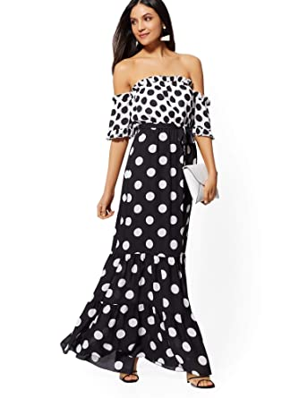 ac671a766ee Women s Black White Dot Print Off-The-Shoulder Maxi Dress at Amazon Women s  Clothing store