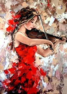 Diamond Painting Kits for Adults - 5D Diamond Painting Full Drill, Violin Girl Diamond Art for Bedroom, Living Room or Home Wall Decor (12x16inch)