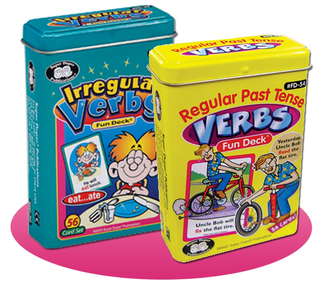 Super Duper Publications Regular Past Tense Verbs and Irregular Verbs Fun Deck Cards Combo Educational Learning Resource for Children by Super Duper Publications