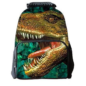 HIMI Mochila con estampado de animales 3D para niños con compartimento portátil Mochila con Dinosaurio verde