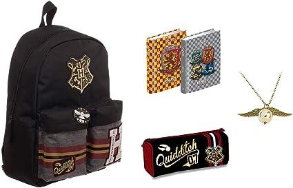 Mochila escolar Harry Potter Hogwarts Alumni Mago + Estuche con cremallera + Diario Gryffindor Revenclaw Hufflepuff Slytherin 2019/2020 + Cadena colgante: Amazon.es: Oficina y papelería