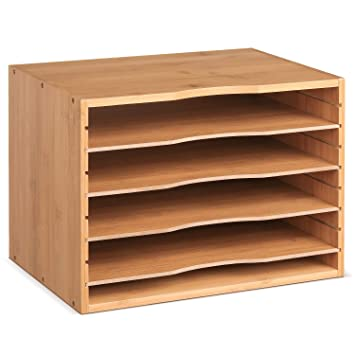 Amazon.com: Homfa Organizador de carpetas de bambú para ...