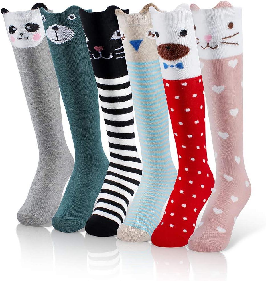 Menghao 6 pairs Girls Cute Knee High Socks Cartoon Animal Cotton Stocking