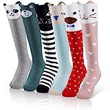 Menghao 6 Pairs Knee Socks Girl for 5-12Years Old-Summer Spring Socks for Kids Animal Cat Fox Bear Cotton Stocking