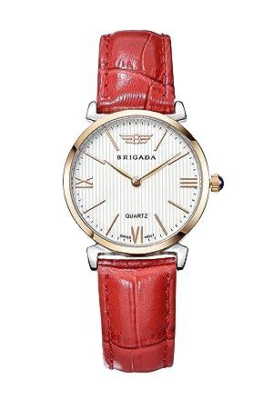 Swiss Relojes para Mujer, Bonito Moda Oro Rosa Rojo Business Band Ladies Relojes para Niñas