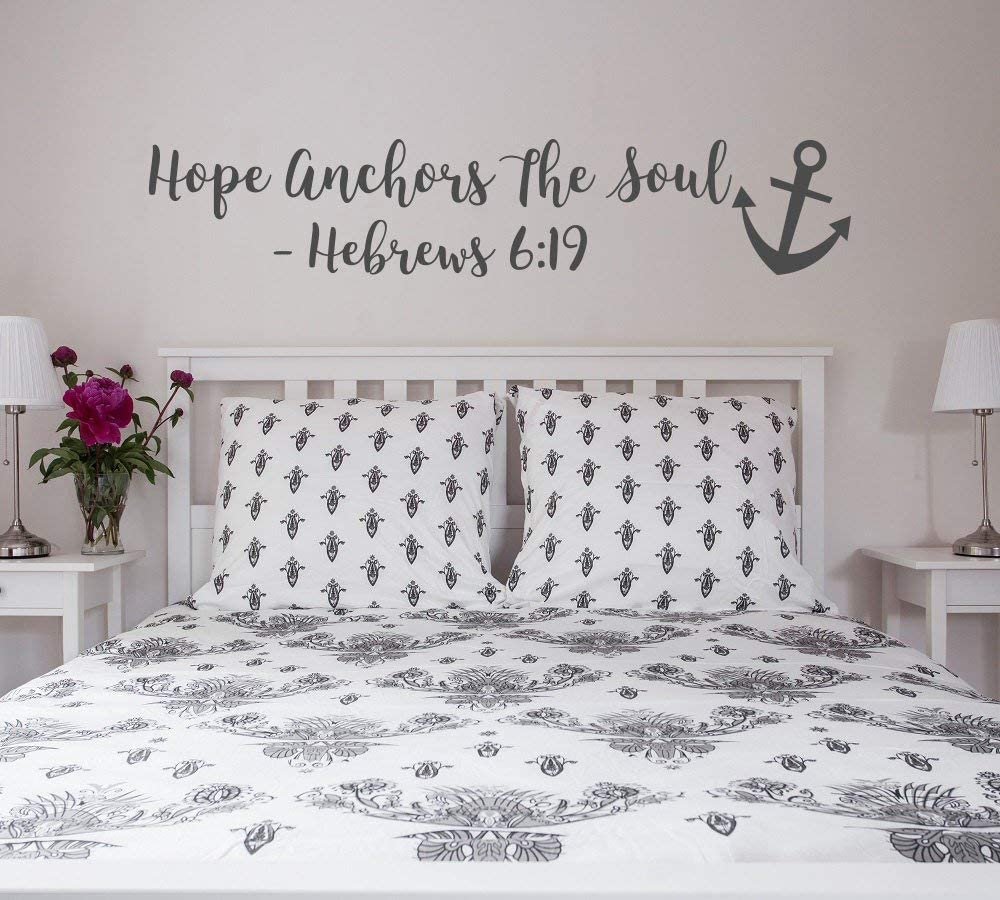 Hope Anchors The Soul Wall Decal - Hebrews 6 19 Vinyl Wall Decal Bedroom Decor - Scripture Wall Decal - Anchor Wall Decal Bible Verse LO11