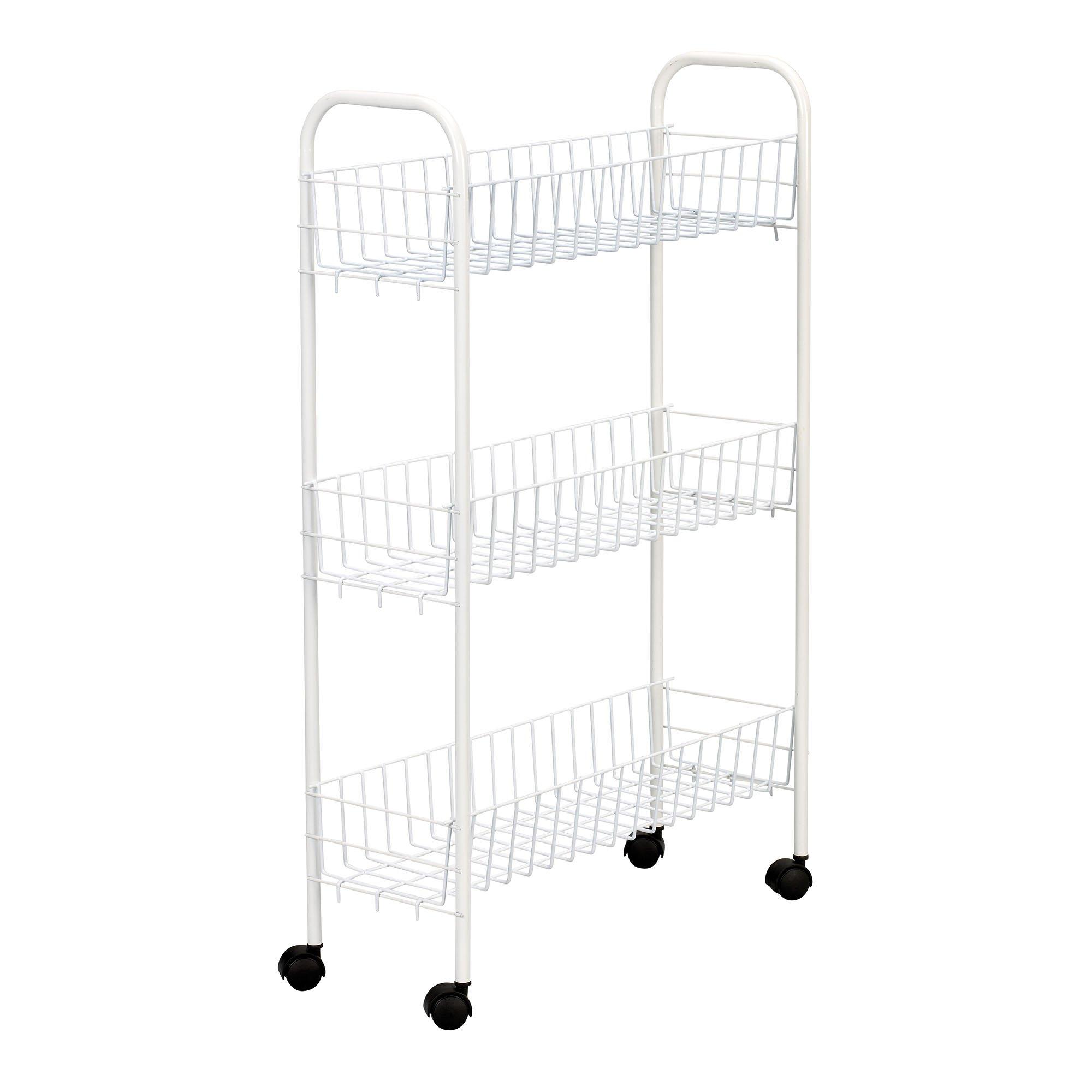 Household Essentials 05121 Slim Line 3-Tier Metal Storage Cart | Laundry Room Rolling Organizer | White by Household Essentials