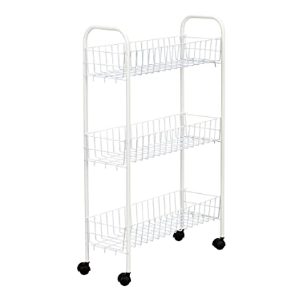Household Essentials 05121 Slim Line 3 Tier Metal Storage Cart | Laundry  Room Rolling Organizer