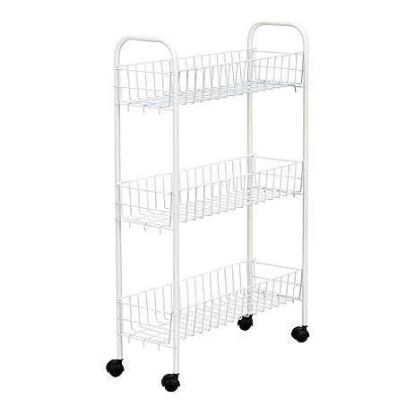 Household Essentials 05121 Slim Line 3 Tier Metal Storage Cart