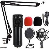 AMZATEK Kit Microfono Condensador Profesional Grabación XLR 3.5mm,Micrófono Condensador para Radiodifusión y Grabación BM800