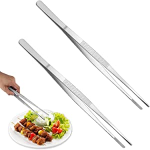 2 PCS 12 Inch Tweezer Tongs,Stainless Steel Tweezers Tongs,Kitchen Cooking Tweezer Tongs with Precision Serrated Tips for Baking Decorating Beauty & Sea Food