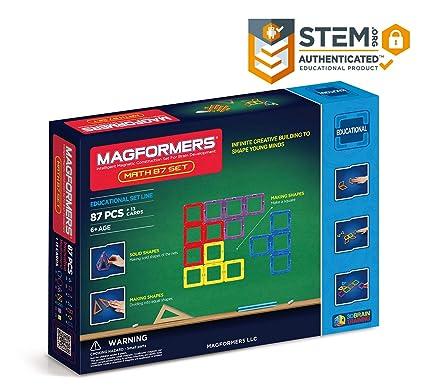 Magformers Math 87 Pieces, Rainbow Colors, Educational Magnetic Geometric  Shapes Tiles Building STEM Toy Set Ages 6+