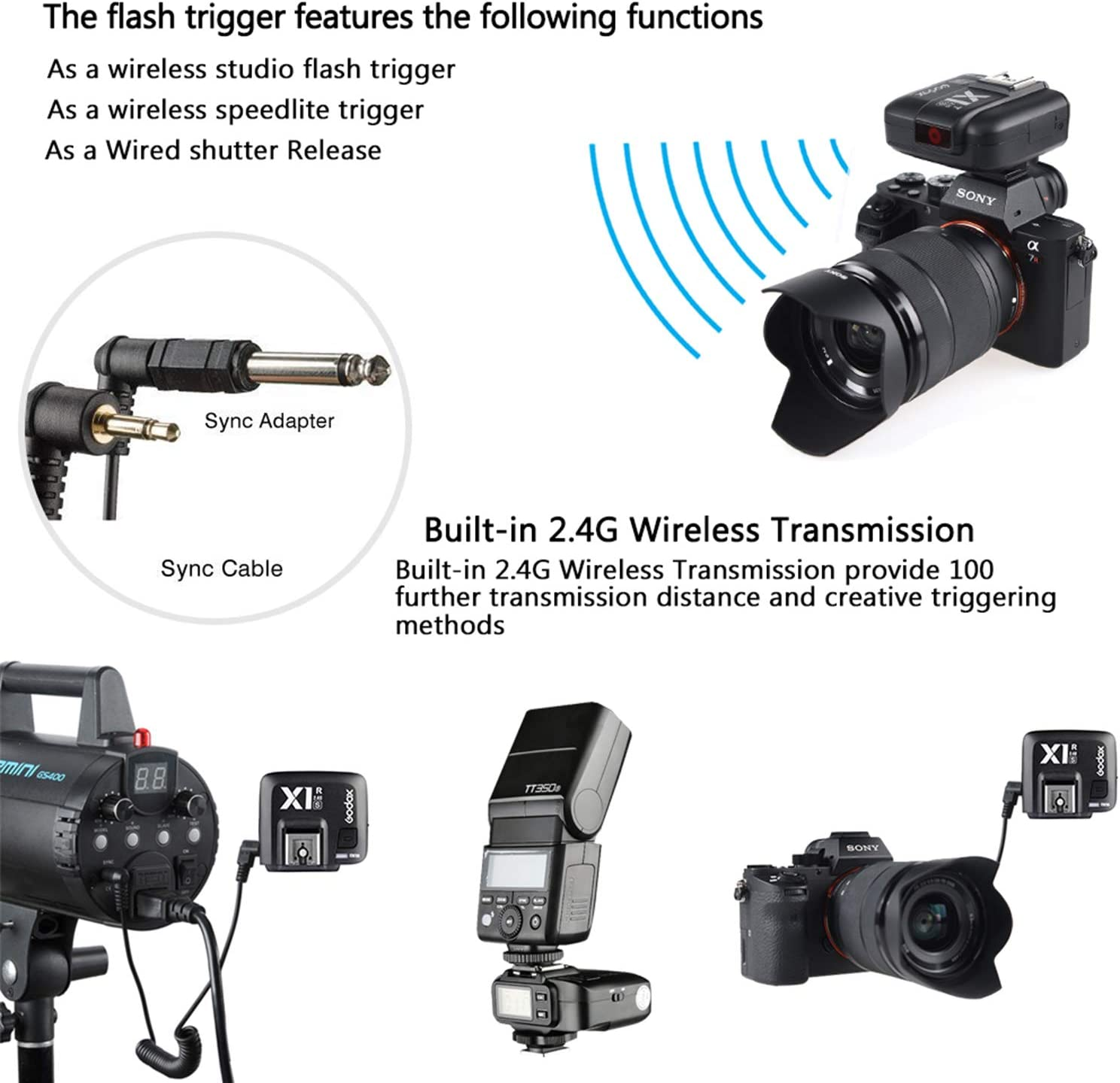 X1R-S Receiver Godox 2.4G TTL Wireless Flash Trigger Remote Control Receiver for Sony