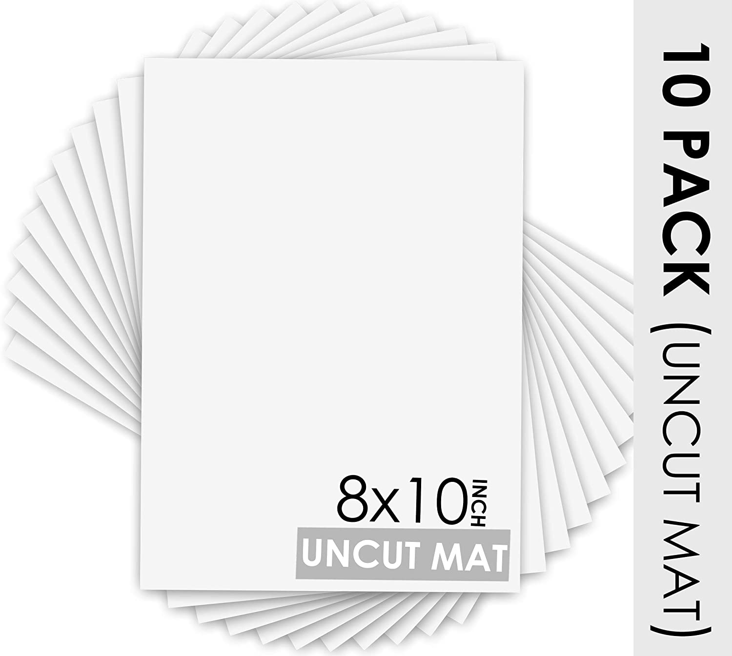 Acid Free for Pictures Photos 5x7 Uncut White Color Mats Framing Great for DIY Projects or Unique Picture Sizes 4-ply Thickness Pack of 10 Mat Board Center White Core