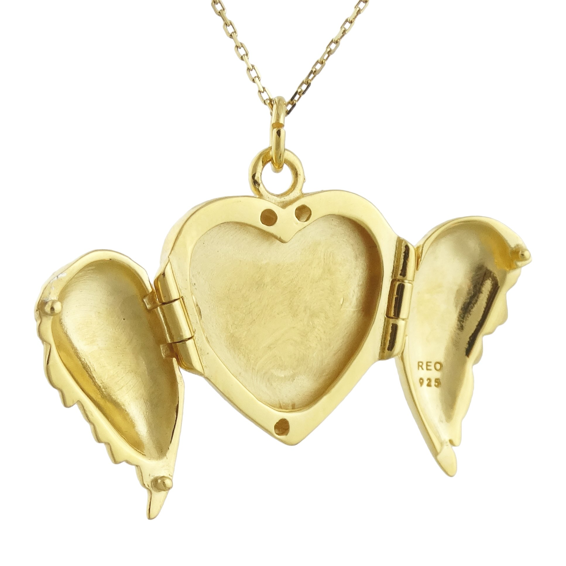 FashionJunkie4Life 18K Gold Plated Sterling Silver Angel Wings Heart Locket Necklace, 18'' Chain by FashionJunkie4Life (Image #2)