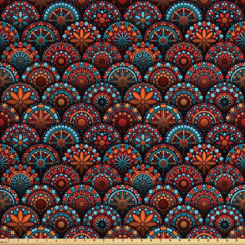Ambesonne Moroccan Fabric by The Yard Circles Pattern Mandala Inspired Floral Arrangements Geometric Rectangles Decorative Fabric for Upholstery and Home Accents 3 Yards Orange Aqua