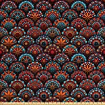 Ambesonne Moroccan Fabric by The Yard, Circles Pattern Mandala Inspired Floral Arrangements Geometric Rectangles, Decorative Fabric for Upholstery and Home Accents, 1 Yard, Orange Aqua