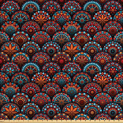 Ambesonne Moroccan Fabric by The Yard, Circles Pattern Mandala Inspired Floral Arrangements Geometric Rectangles, Decorative Fabric for Upholstery and Home Accents, 1 Yard, Aqua Orange Ruby
