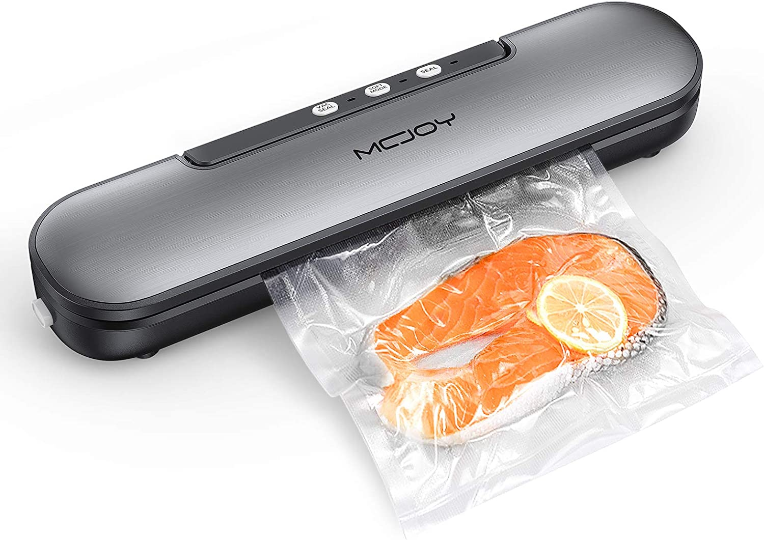 MCJOY Vacuum Sealer Machine, Automatic Operation Vacuum Air Sealing For Food Preservation System, Led Indicator Lights, Compact Design And Easy Clean, 10 Bags (Gray)