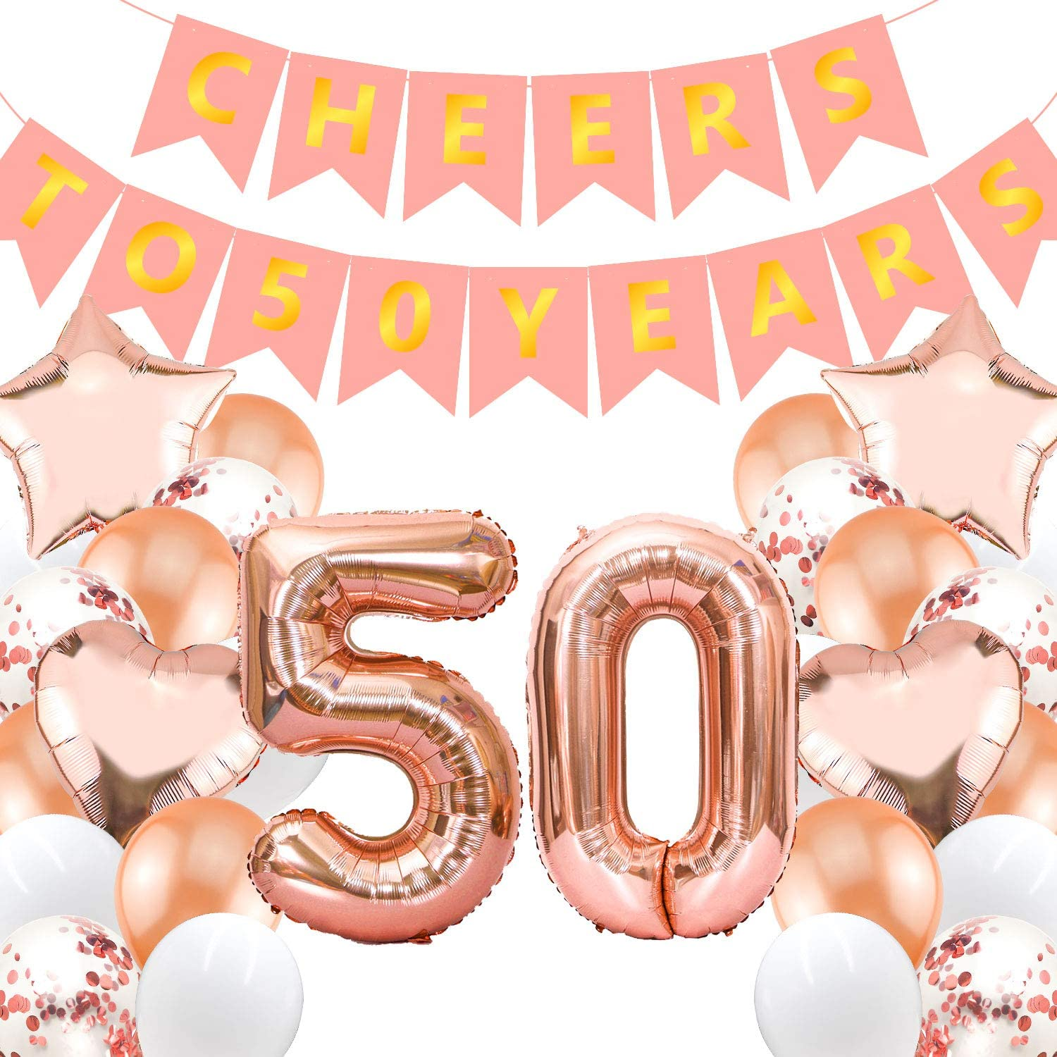 Cheers to 50 Rose Gold Balloons,Cheers to 50 Letter Balloons,Cheers Rose Gold Letter Balloons,Cheers Balloons,Cheers Banner,50th Birthday