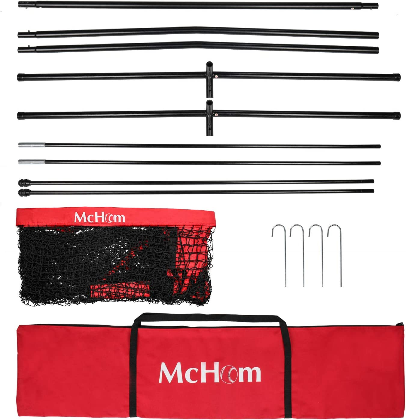 McHom 12ft x 9ft Sports Barrier Net   Backstop for Baseball, Softball, Soccer, Basketball, Lacrosse and Field Hockey   Collapsible and Portable : Sports & Outdoors