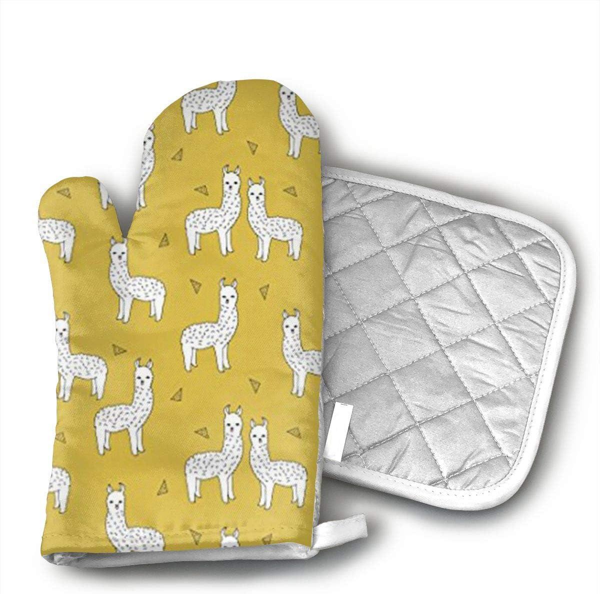 MHBZRDAZ96 Llama Mustard Yellow Oven Mitts with Cotton Lining, High Heat Resistant Kitchen Gloves, Non-Slip Potholder