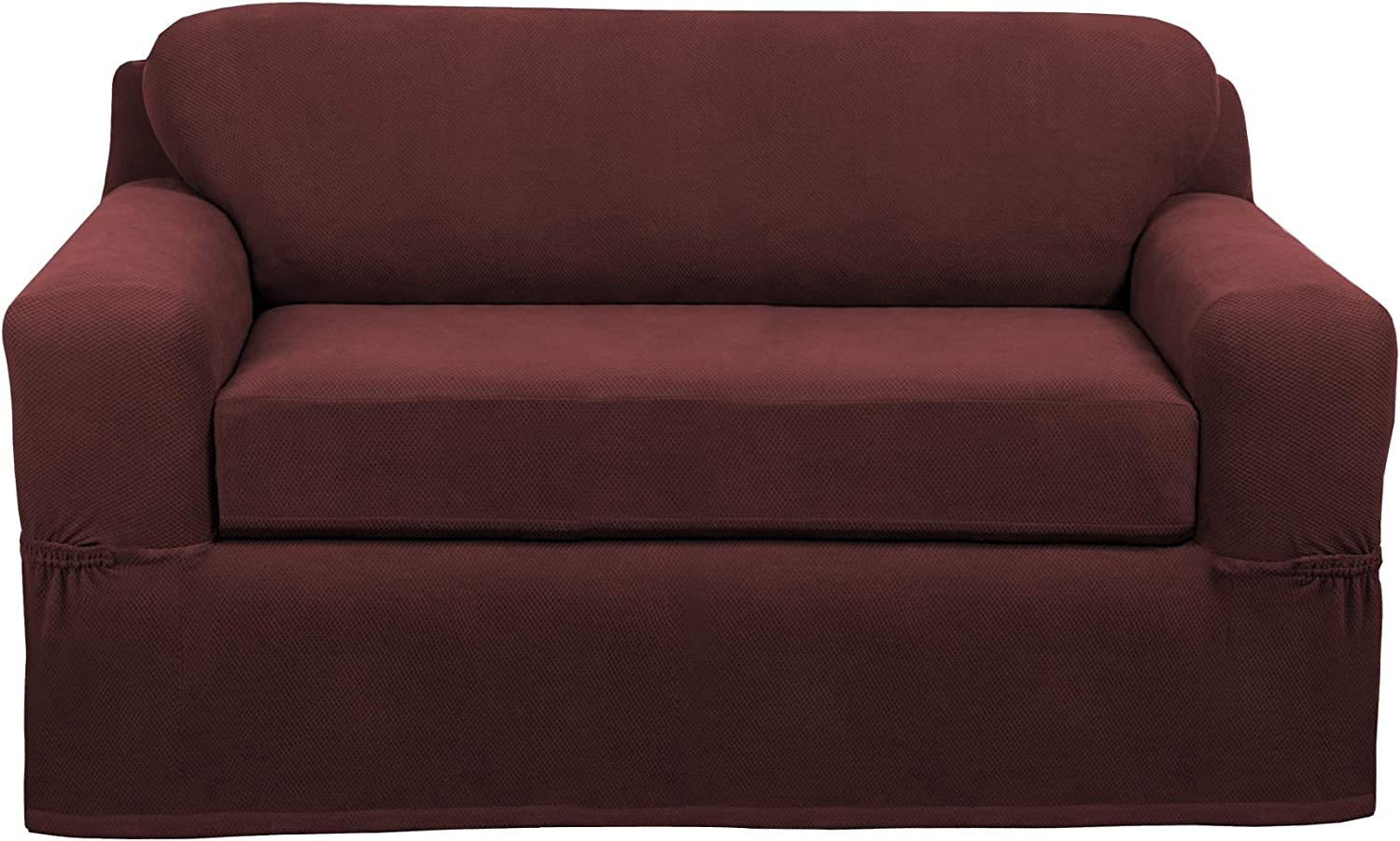 MAYTEX Pixel Ultra Soft Stretch 2 Piece Furniture Cover, Wine Red Loveseat Slipcover
