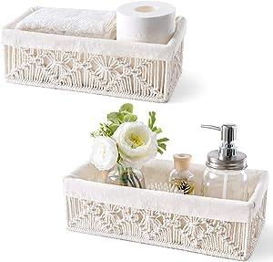 Mkono Macrame Storage Baskets Boho Decor Box Handmade Woven Decorative Countertop Toilet Tank Shelf Cabinet Organizer with Removable Cloth Liner for Bedroom Nursery Living Room Set of 2, Ivory