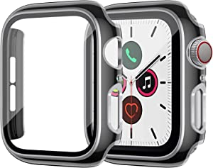 ZEBRE Screen Protector Compatible with Apple Watch Series 6/5/4/SE 40mm, Built-in Hard PC Tempered Glass Case, Silver Edge Black Bumper Full Defense Coverage HD Clear Protective Cover, Black/Silver