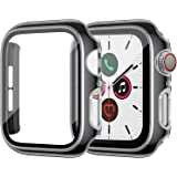 ZEBRE Screen Protector Compatible with Apple Watch Series 6/5/4/SE 40mm, Built-in Hard PC Tempered Glass Case, Silver Edge Bl