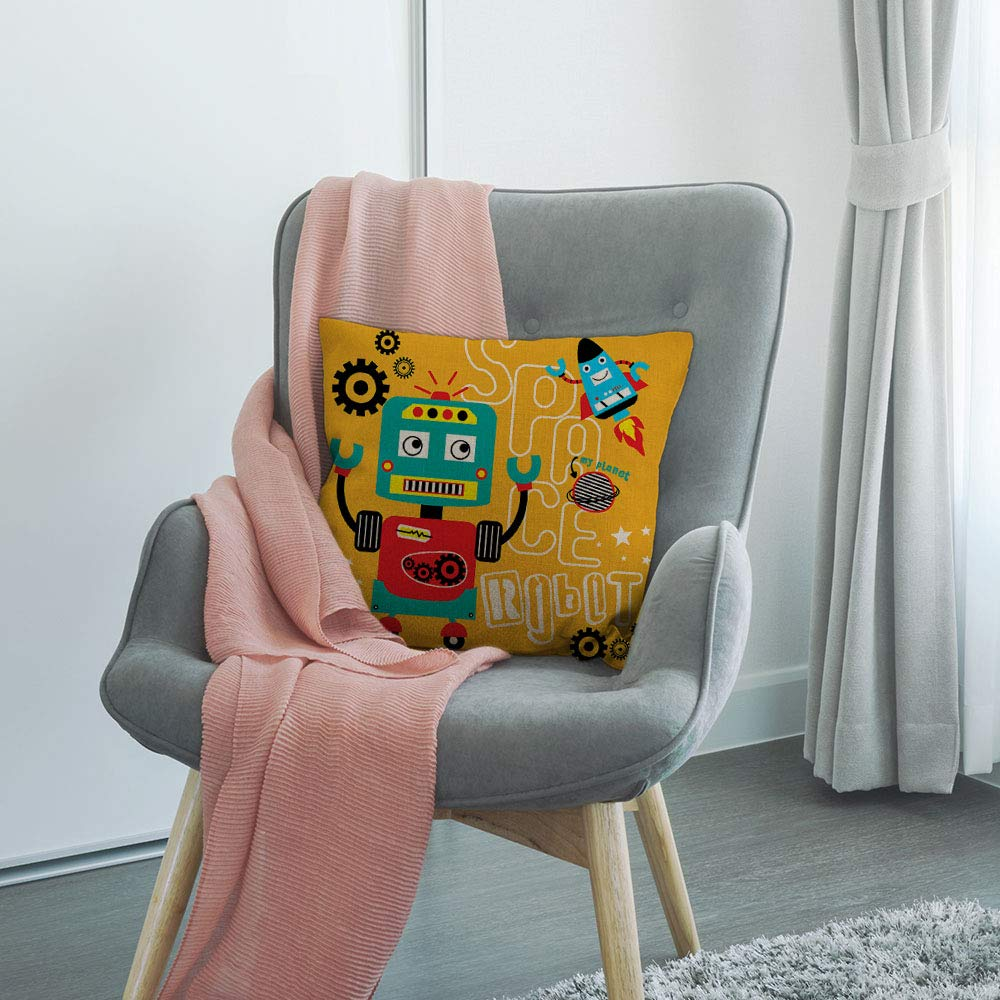 HGOD DESIGNS Robot Pillow Cover,Funny Cartoon Space Robot Design Cotton Linen Cushion Covers Home Decorative Throw Pillowcases 18x18inch