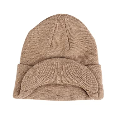 MTTROLI Winter Hats For Women Girls Warm Wool Knit Snow Ski Skull Cap With  Visor Design (Beige)  Amazon.co.uk  Clothing 00381ca3c42a