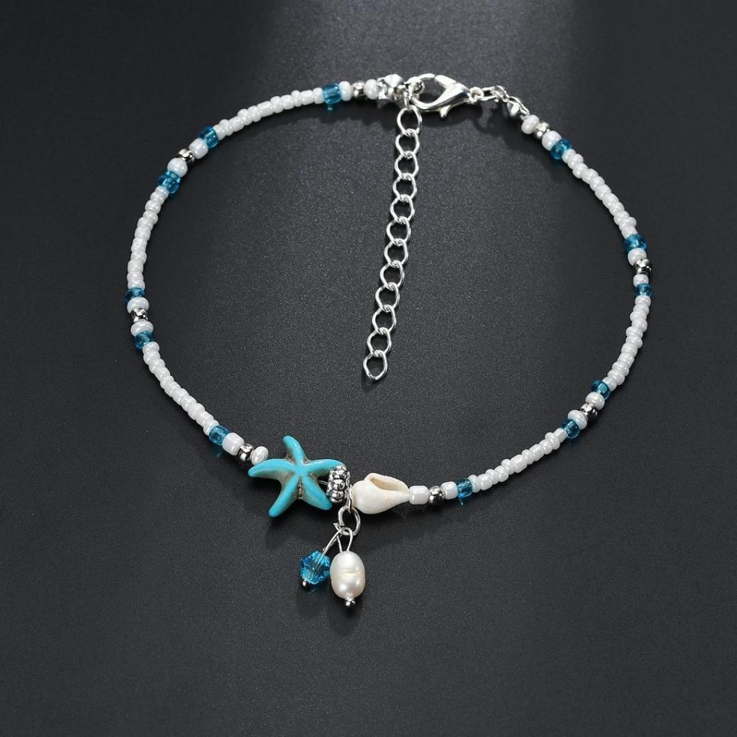 Pulsera de tobillo, taottao, bohemio azul, pulsera tobillera, accesorios de cadena de pie para mujeres y niñas: Amazon.es: Joyería