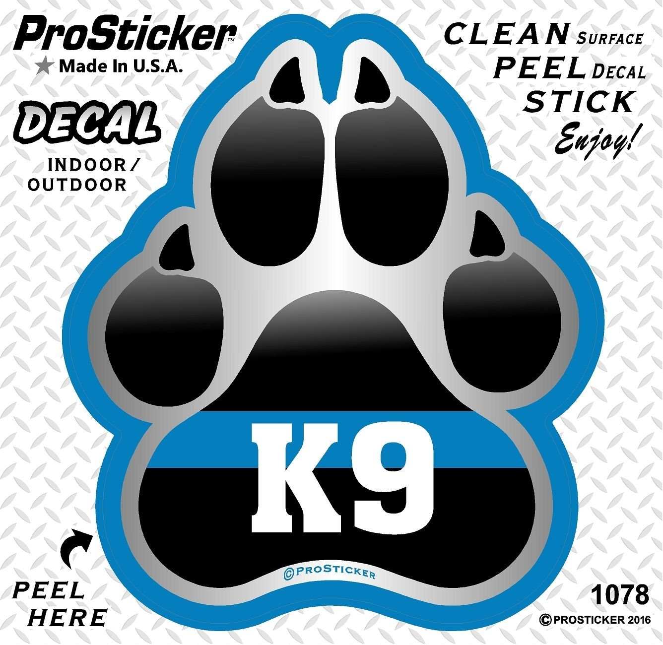 ProSticker 1078 4 Patriot Series K9 Paw Thin Blue Line Support Decal Sticker ProSticker.com One