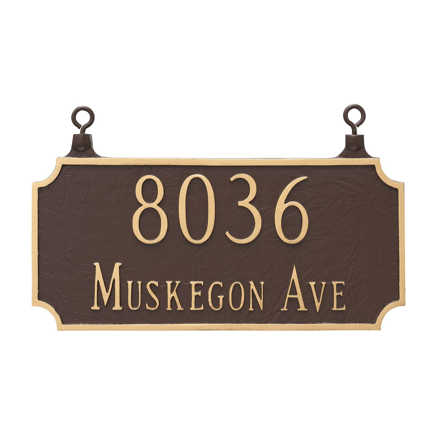 Montague Metal TSH-0005S2-H-BC Double Sided Hanging Princeton Two Line Address Sign Plaque, 7.25'' x 15.75'', Black/Copper