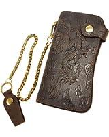 Le'aokuu Mens Genuine Leather Bifold Wallet Organizer Checkbook Iron Chain