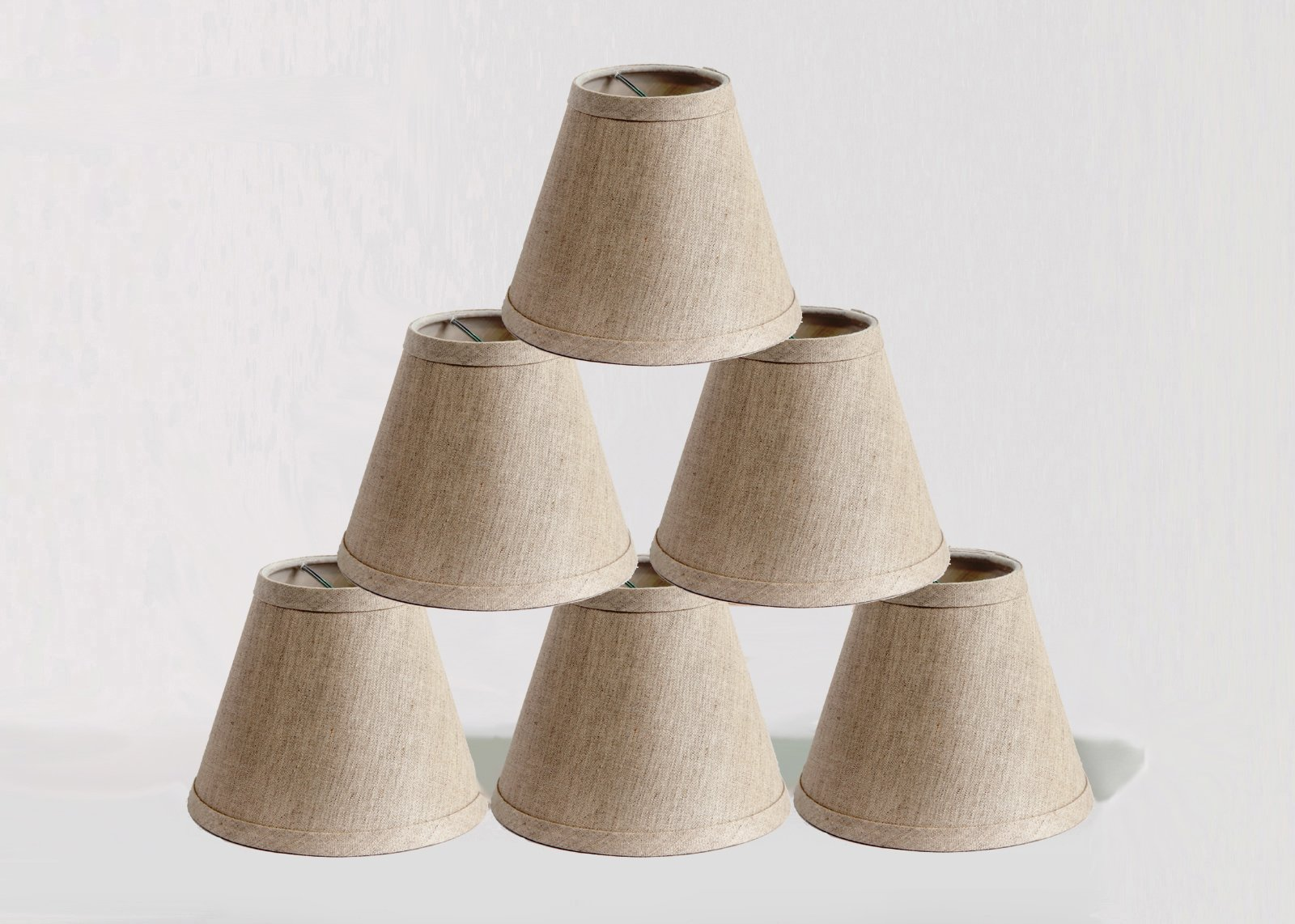 Urbanest Pure Linen Chandelier Lamp Shades, 6-inch, Hardback Clip On, Oatmeal(set of 6)