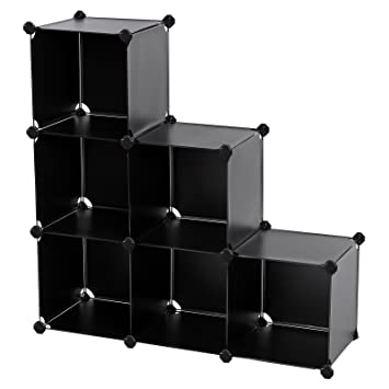 SONGMICS Storage Cube Organizer DIY Plastic Closet Shelf With Rubber Hammer  6 Cube Bookcase Cabinet
