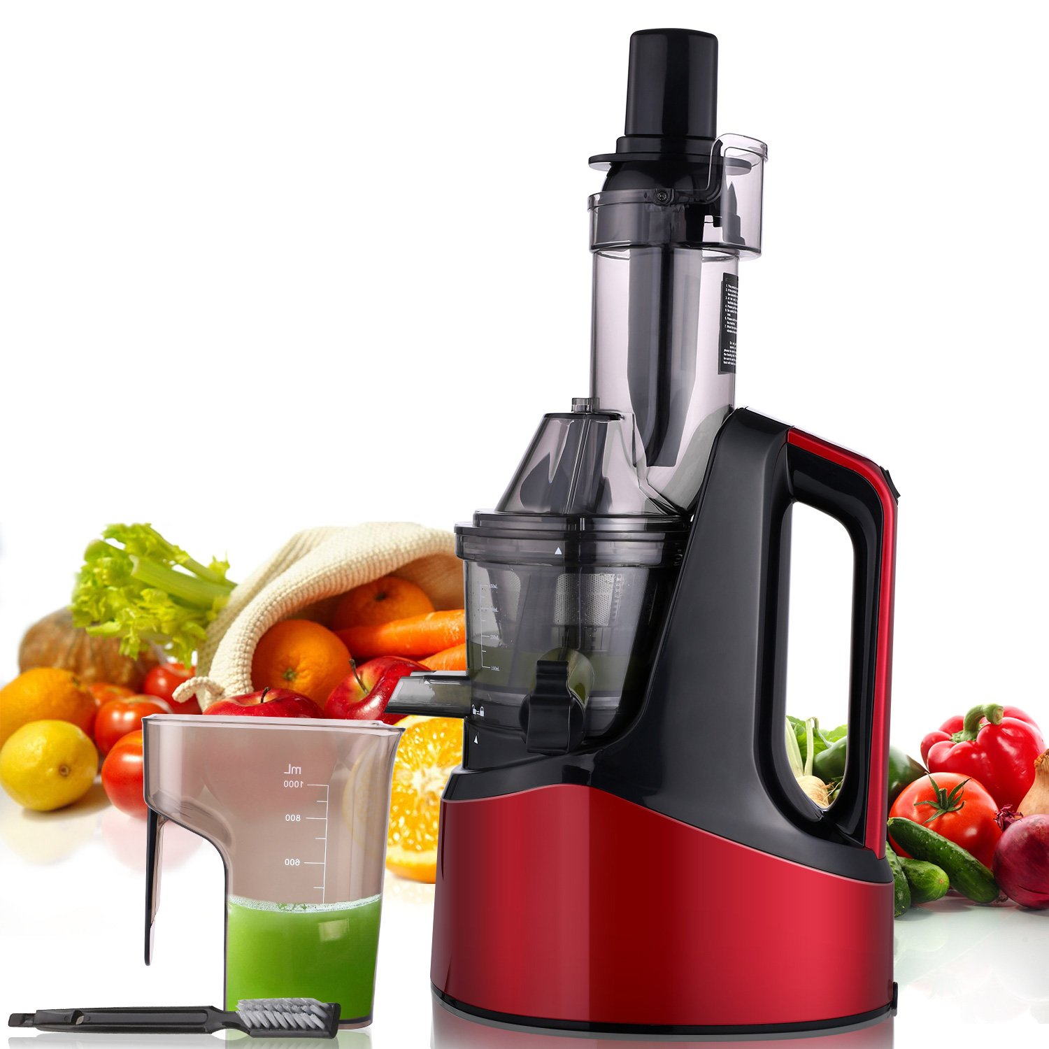 MeyKey Slow Masticating Juicer Wide Chute Reverse Function Cold Press Juicer Easy Extract Fruit Vegetable Juice