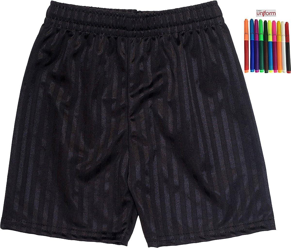 Shadow Stripe Gym Sports Games School Pe Shorts Unisex Black 13-14 Years