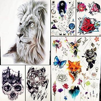 6 Hojas Negro Africano LeóN Tatuajes Temporales Mujeres Brazo ...