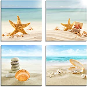 YPY Painting Zen Spa Beach Stone Sea Shells Sand Sunshine 4 PCS Wall Art Stretched Canvas Art Set Framed Ready to Hang (Blue, 12x12in)