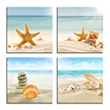 Amazon Price History for:YPY Painting Beach Stone Sea Shells Sand Sunshine 4 PCS Wall Art Stretched Canvas Art Set Framed Ready to Hang (Blue, 12x12in)