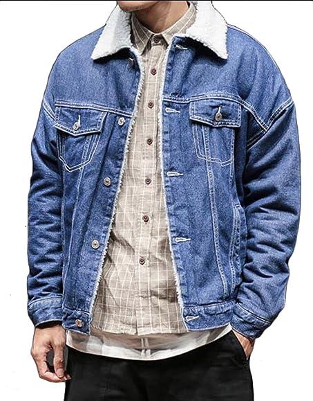 Jaycargogo Men's Slim Fit Button Down Lined Fleece Denim Jackets ...