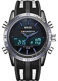 BINZI orologio militare uomo sportivo impermeabile Orologio da polso uomo digitale di lusso LED a doppia visualizzazione cronometro settimana di allarme con nastro in silicone nero