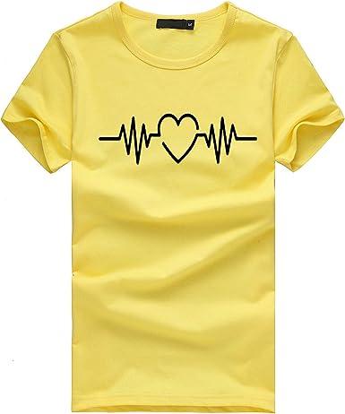 LANSKIRT Camisetas Mujer Manga Corta 2020 con Corazón y Letra Imprimir Blusas y Camisas de Mujer Elegante Camisa Basica Verano Tops Casual T-Shirt Original Tallas Grandes Polos Jersey: Amazon.es: Ropa y accesorios
