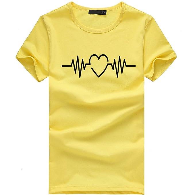 7f2cb1c6d9f3b Camiseta de Mujer Manga Corta Corazón Impresión Blusa Camisa Cuello Redondo  Basica Camiseta Suelto Verano Tops Casual Fiesta T-Shirt Original tee  vpass  ...